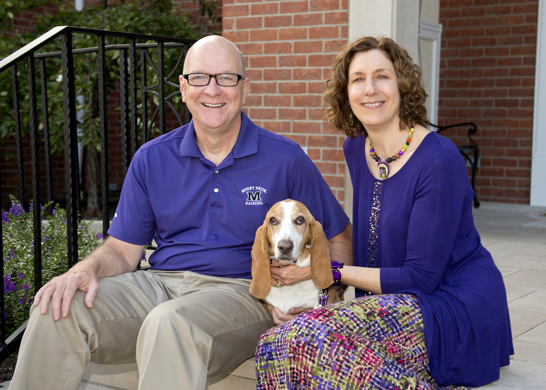 University of Mount Union President Dick Merriman, his wife Margot Kelman, and their dog Jasmine