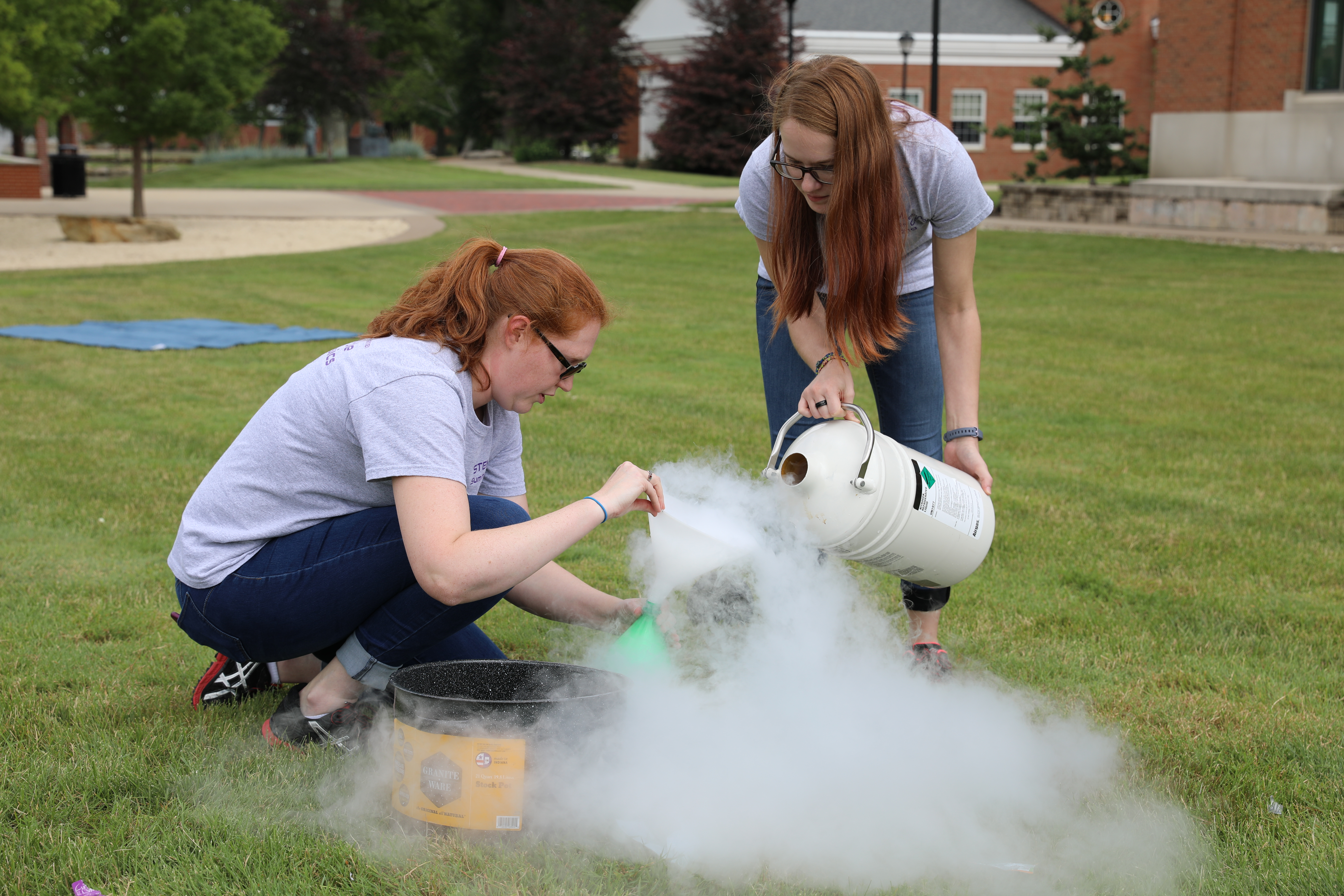 two women with liquid nitrogen