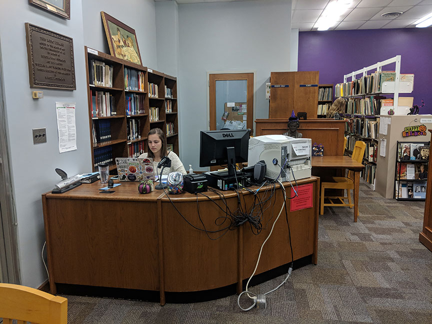 Student Utilizing the Sturgeon Music Library