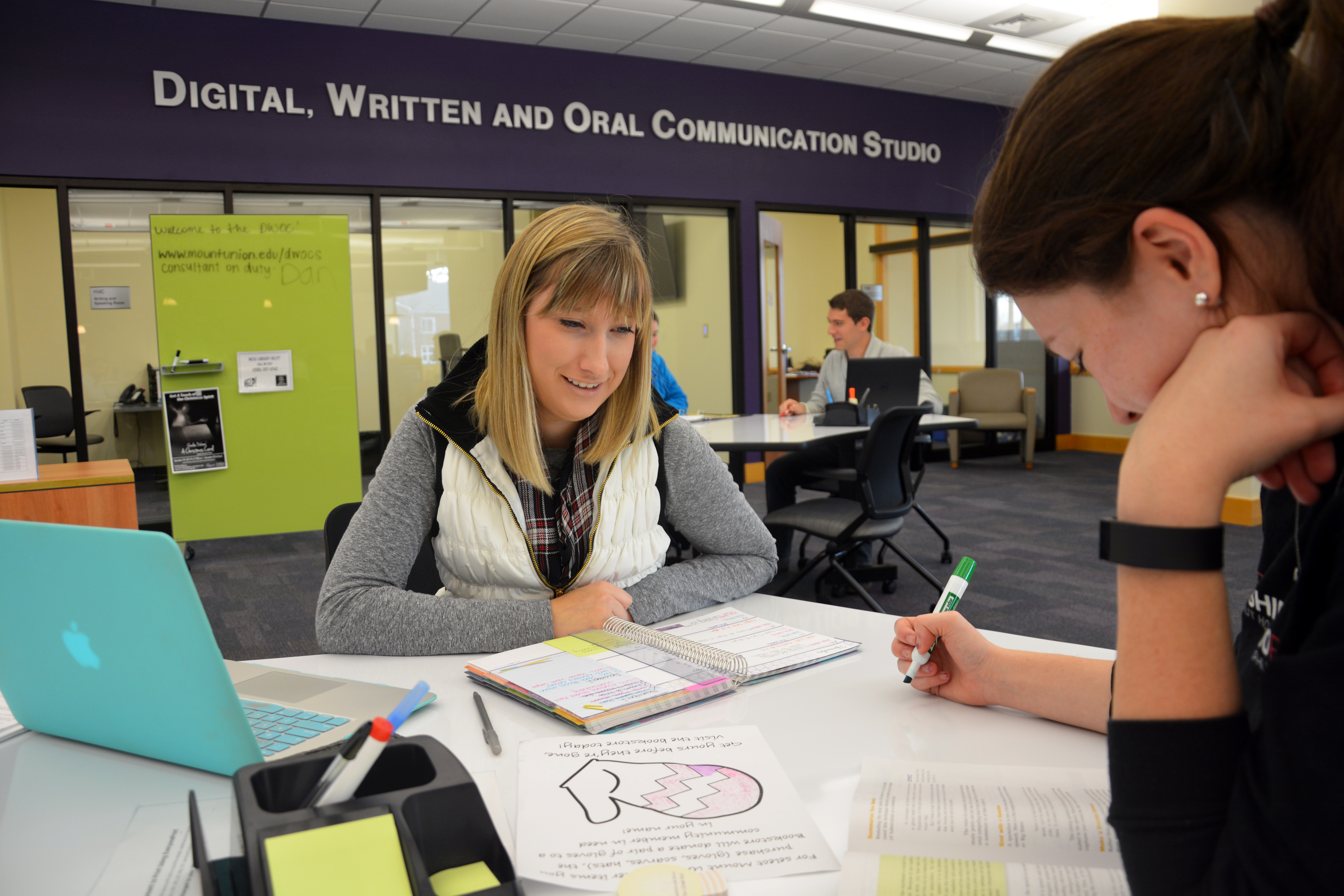 Mount students studying in the DWOC studio.
