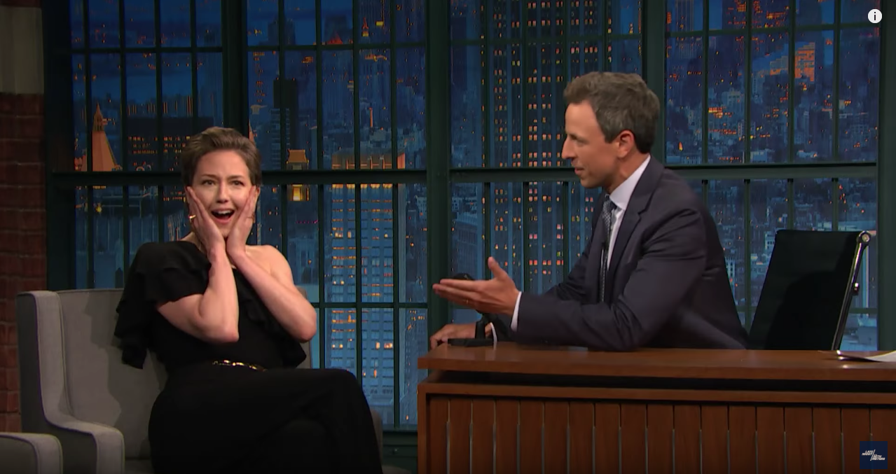 Carrie Coon with Seth Meyers