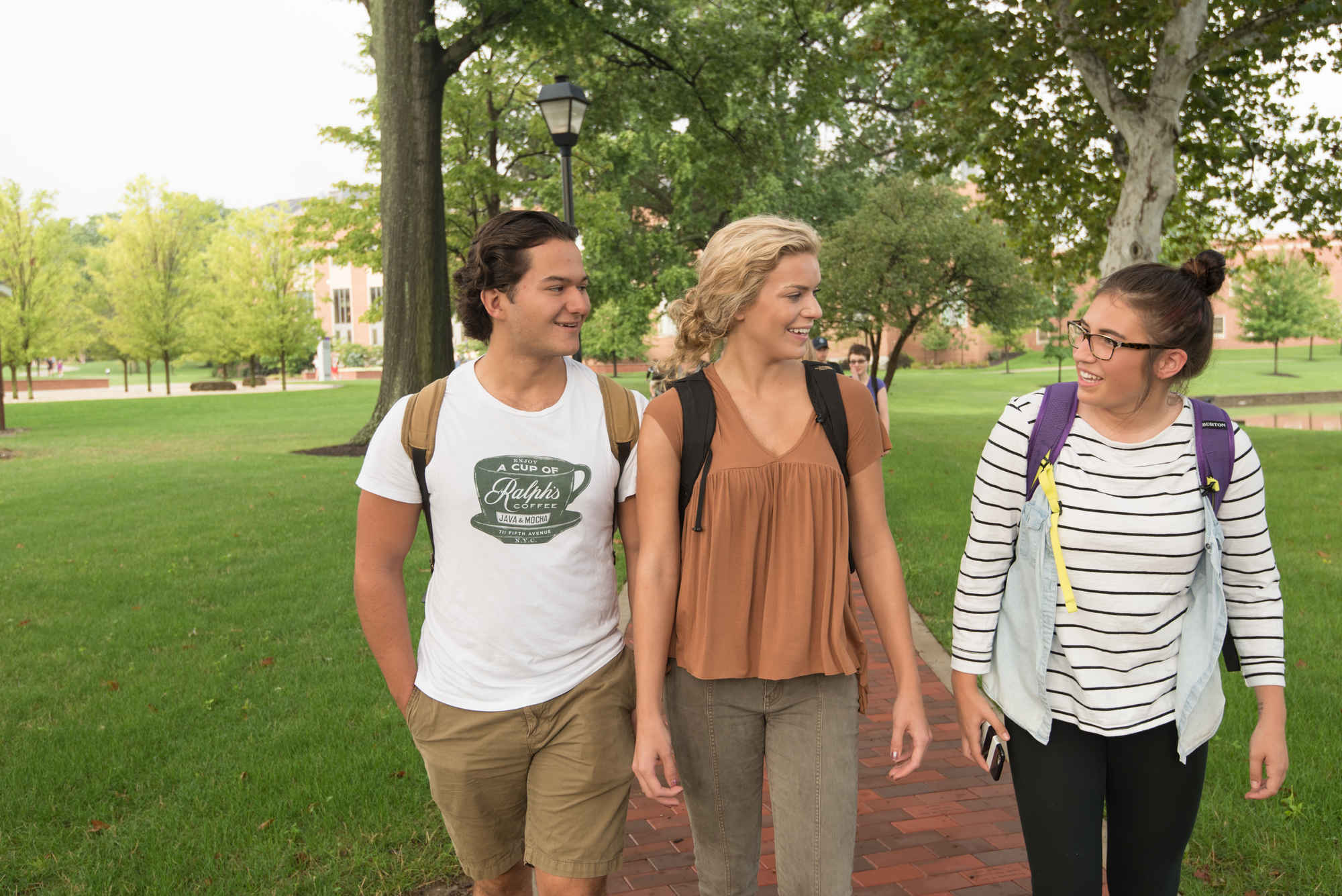 Students walking on Mount Union's campus