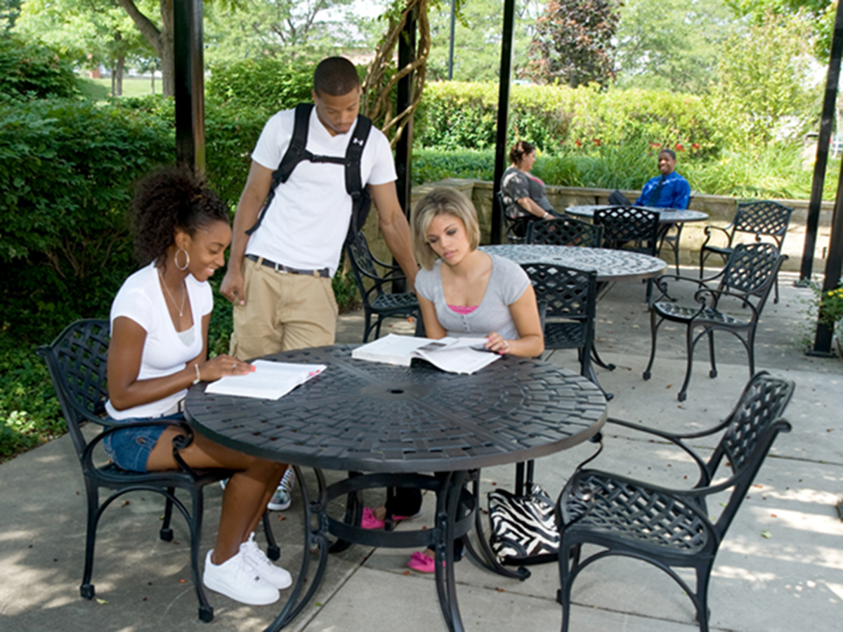 University of Mount Union students talking on campus