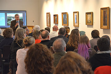 Guests gathered in the Sally Otto Art Gallery for a gallery talk featuring Lou Zona of the Butler Institute of Art