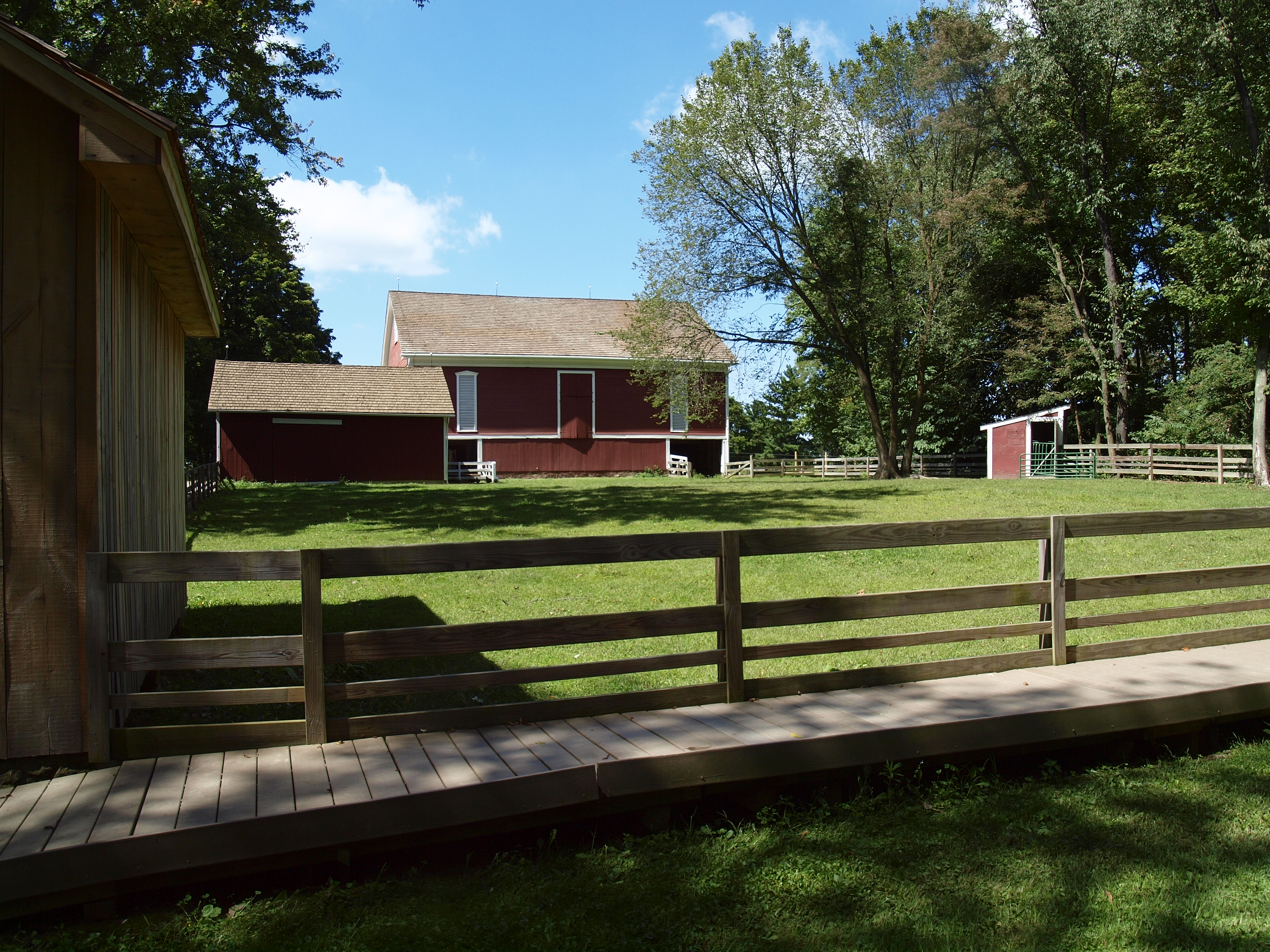 A big red barn sits on the Nature Center property