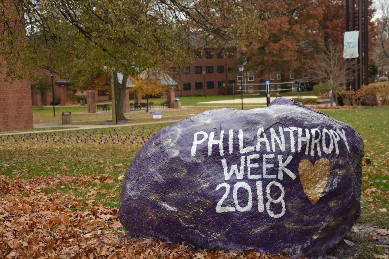 Campus Rock painted for Philanthropy Week 2018
