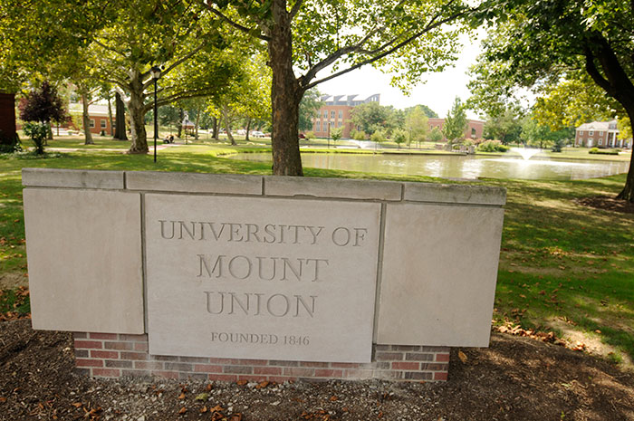University of Mount Union Entrance Gate in front of campus lakes