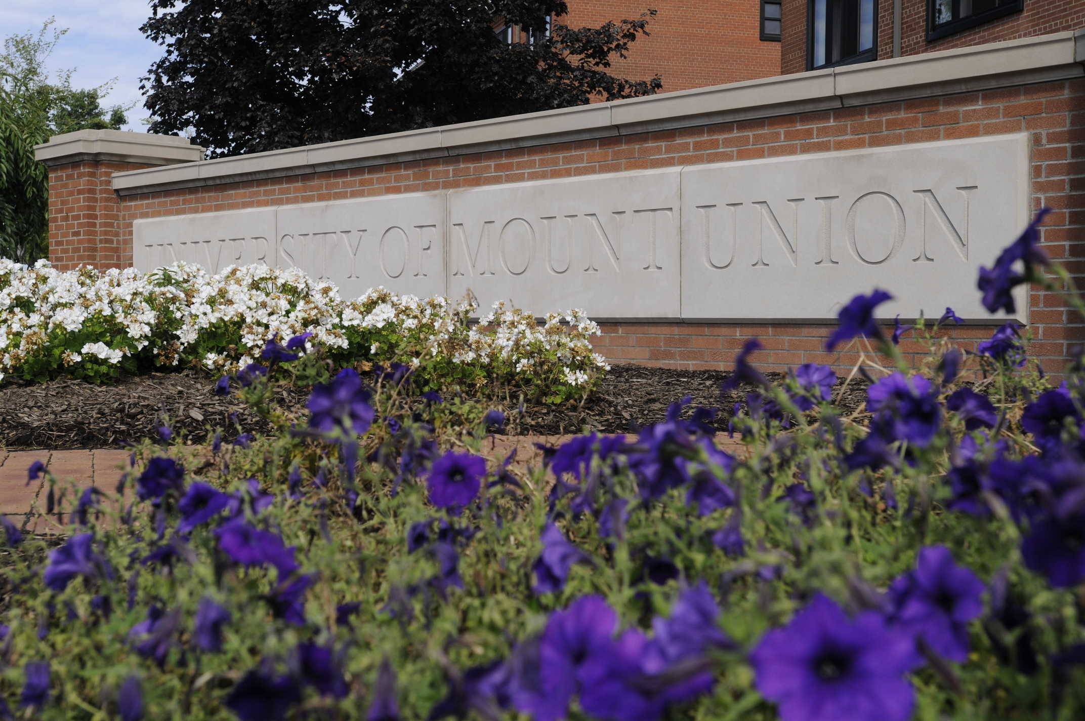 mount union sign with flowers